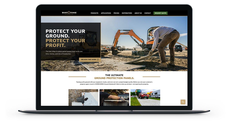 Workhorse Website Mockup on a Laptop